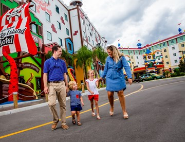 Family in front of Pirate Island Hotel