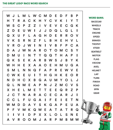 GREAT LEGO RACE WORD SEARCH